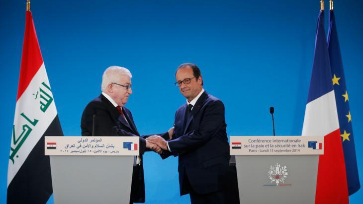 الرئيس العراقي فؤاد معصوم  والرئيس الفرنسي فرانسوا أولاند.  Foto: Reuters/Christian Hartmann