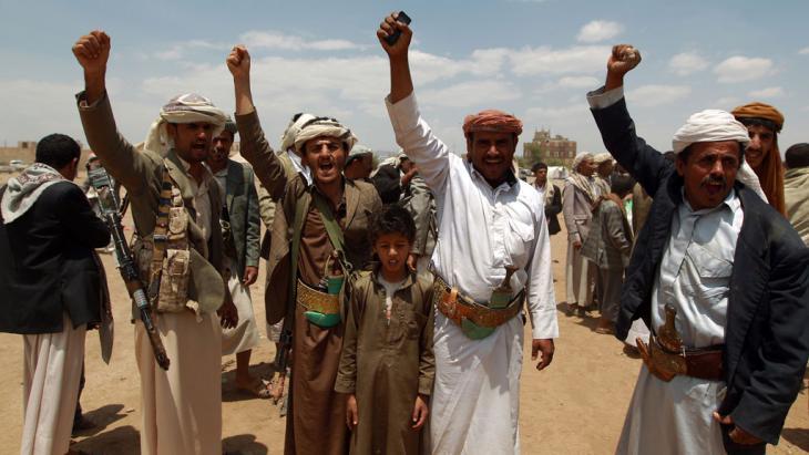 Jemenitische Anhänger der schiitischen Huthi-Bewegung am 4. September 2014 in Sanaa; Foto: AFP/Getty Images/M. Huwais