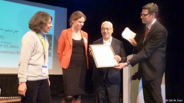 راشد الغنوشي في برلين 05 / 12 / 2014 أثناء تسلمه جائزة ابن رشد للفكر الحر لعام 2014.