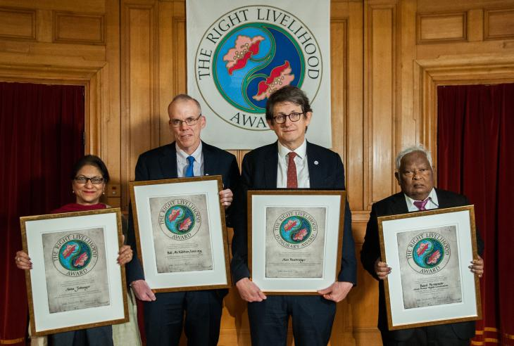 From left: Asma Jahangir, Bill McKibben, Alan Rusbridger and Basil Fernando (photo: Wolfgang Schmidt/Right Livelihood Award Foundation)