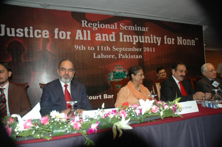 "Asma Jahangir, centre, at the regional seminar ""Justice for all and impunity for none"" in 2011 (photo: Right Livelihood Award Foundation)"