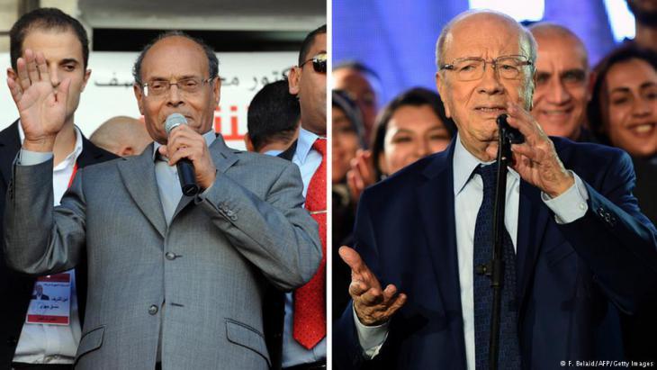 Beji Caid Essebsi und Moncef Marzouki während des Wahlkampfes.