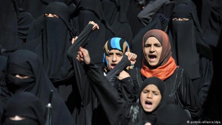 نساء يمنيات في مظاهرة احتجاجية