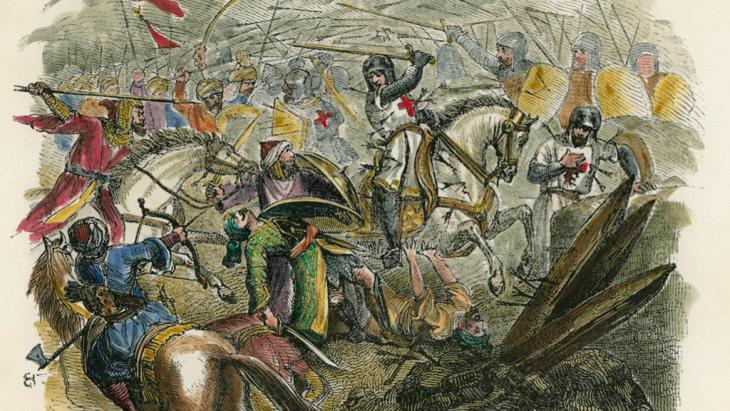 فرسان فرنسيون في الحملة الصليبية الأولى. by Pierre-R. d'Hautpoul (photo: picture-alliance/AKG)