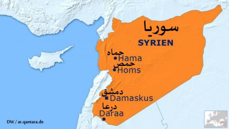 خريطة سوريا وفيها تظهر درعا في الجنوب
