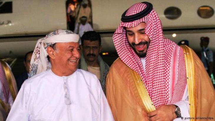 وزير الدفاع السعودي الأمير محمد بن سلمان والرئيس اليمني عبد ربه منصور هادي في الرياض