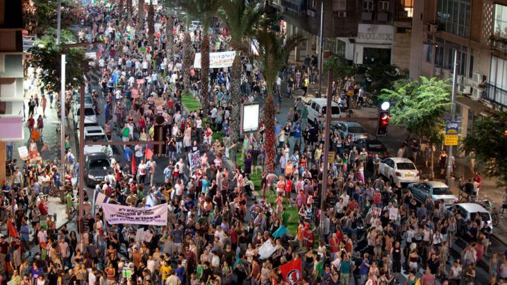 Proteste gegen Armut, soziale Ungerechtigkeit und Mieterhöhungen im Juli 2012 in Tel Aviv; Foto: Getty Images