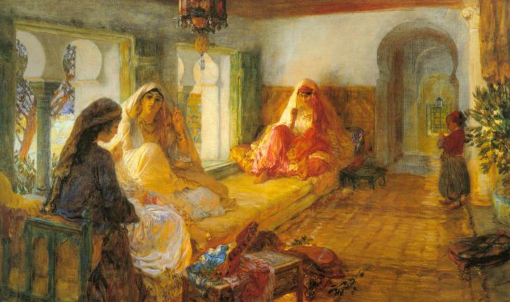 في قصر السراي: لوحة زيتية للرسام فريدريك آرثر بريجمان. Quelle: wikipedia