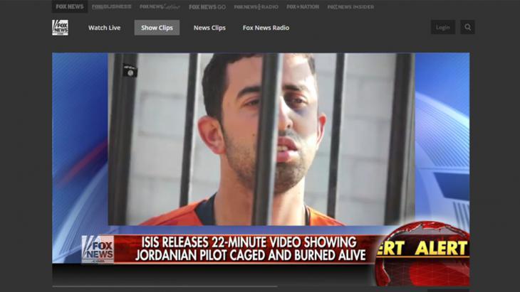 تغطية الإعلام الأمريكي الإخبارية بخصوص الطيار الأردني الكساسبة. Quelle: Fox News