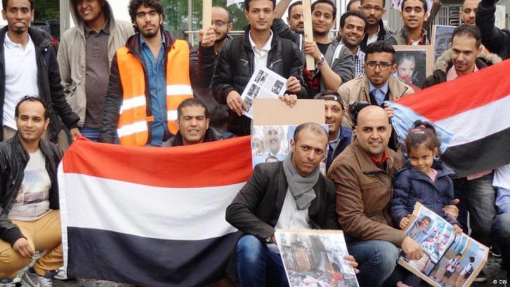 مظاهرة ليمنيين في مدينة بون غرب ألمانيا ضد المسلحين الحوثيين وقوات صالح
