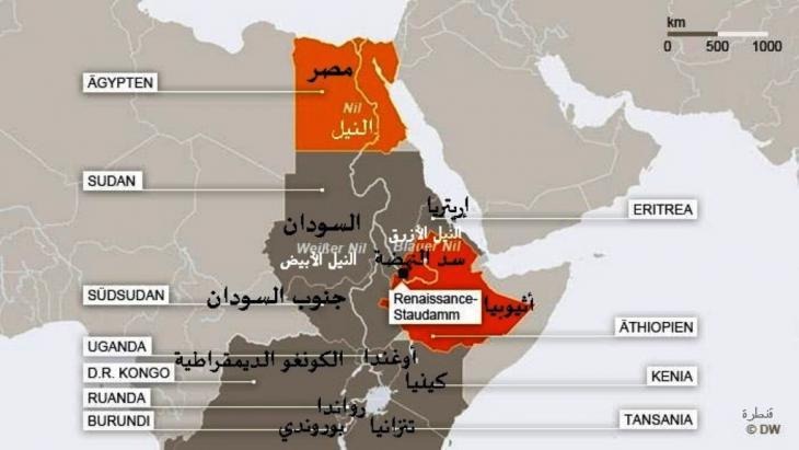 خارطة للبلدان الإفريقية الواقعة على نهر النيل