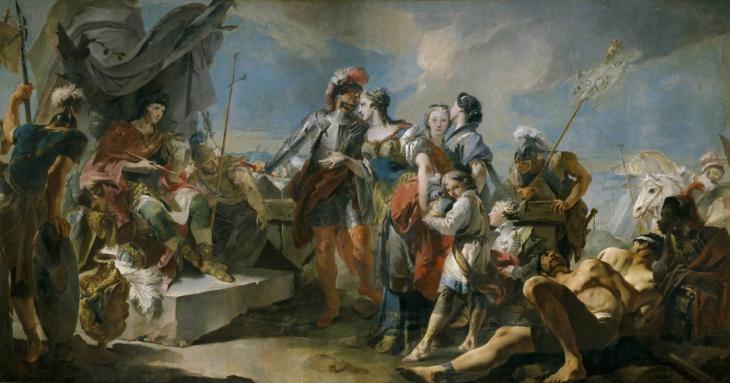 لوحة الفنان غياندومينيكو تيبولوس رسمها عام 1717 : زنوبيا أمام الإمبراطور الروماني أورليانوس. Foto: picture-alliance