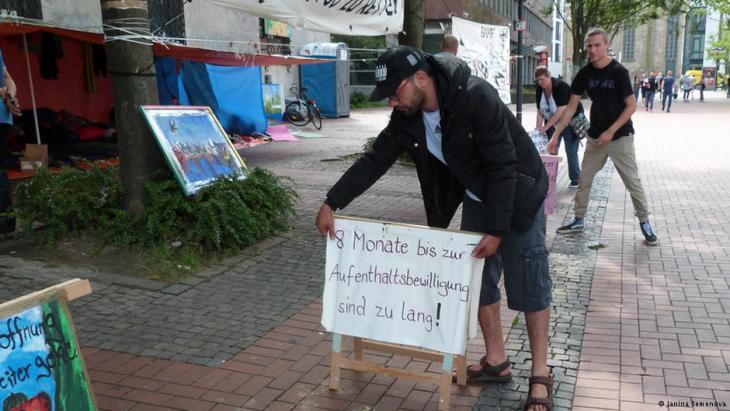 Protestcamp der Flüchtlinge; Foto: Janina Semenova
