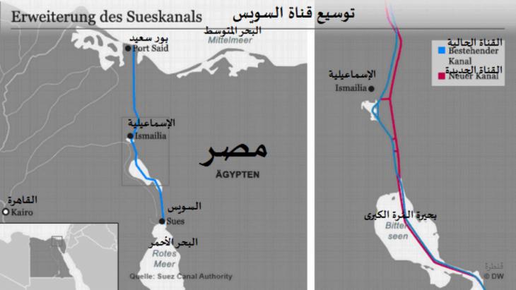 خريطة: قناة السويس الجديدة وقناة السويس القديمة