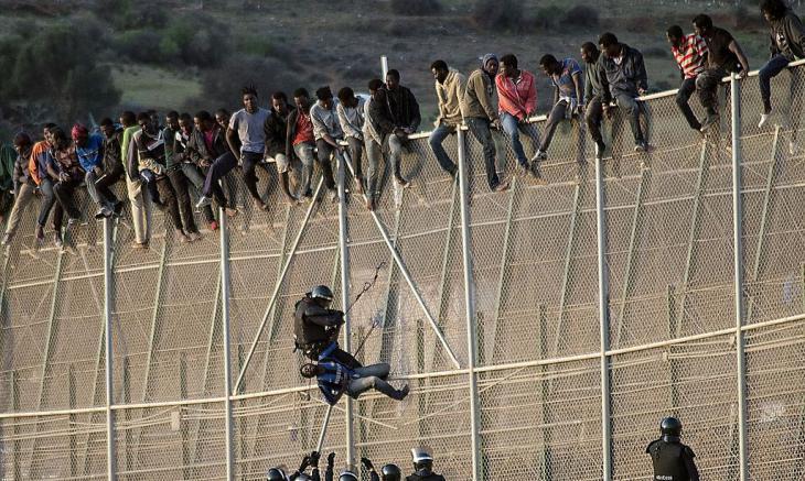 Polizisten versuchen Flüchtlinge von dem Zaun in Melilla zu holen; Foto: Reuters