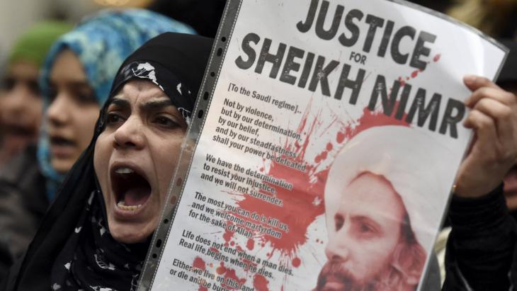 احتجاجات ضد إعدام السعودية للشيخ الشيعي نمر النمر. Foto: Reuters/T. Melville