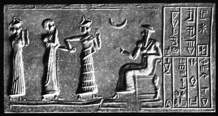 نقش بابلي قديم يظهر عليه الهلال.  Khashkhamer_seal_moon_worship. المصدر: ويكيميديا كومونز