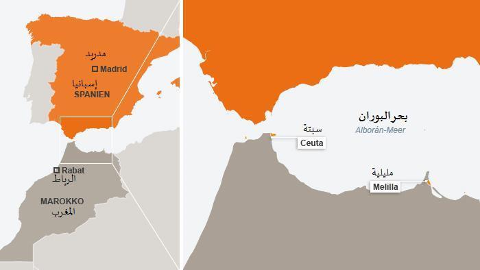 موقع مدينة سبتة ومدينة مليلية بين المغرب وإسبانيا.