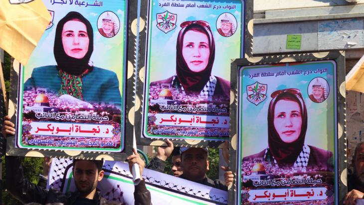 Solidaritätsdemonstration für die palästinensische Abgeordnete Najat Abu Bakr; Foto: Imago/Zuma Press
