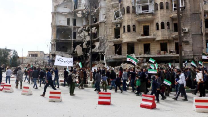 احتجاجات في حلب ضد الأسد. Picture alliace