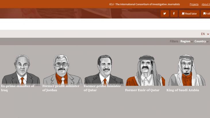 """من الصفحة الإلكترونية  لتسريبات """"وثائق بنما"""". (The International Consortium of Investigative Journalists)"""