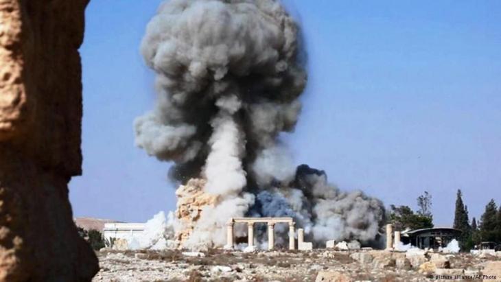نسف معبد بعل شمين على يد داعش في آب/ أغسطس 2015.