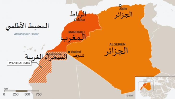 خريطة المغرب بما فيها الصحراء الغربية والجزائر