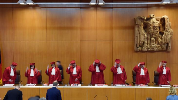 المحكمة الدستورية العليا في مدينة كارلس رويه الألمانية. Foto: picture alliance/dpa/u.deck