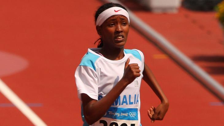 سامية يوسف عمر في سباق العدو لـ 200 متر في أولمبياد بكين عام 2008. (photo: Stu Forster)s