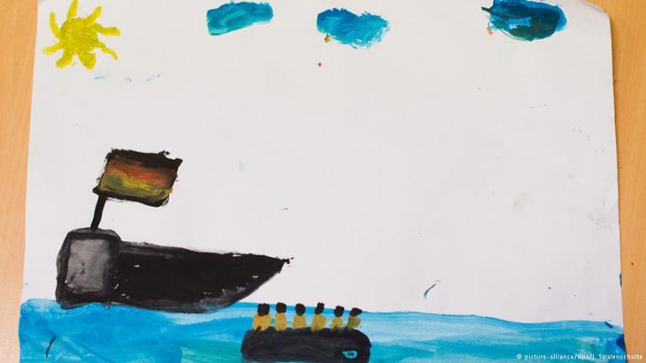 لوحة طفل عراقي رسم فيها رحلة لجوئه عبر المتوسط