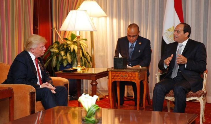 الرئيس المصري السيسي في لقاء مع ترامب في نيويورك. Foto: AFP/Dominick Reuter