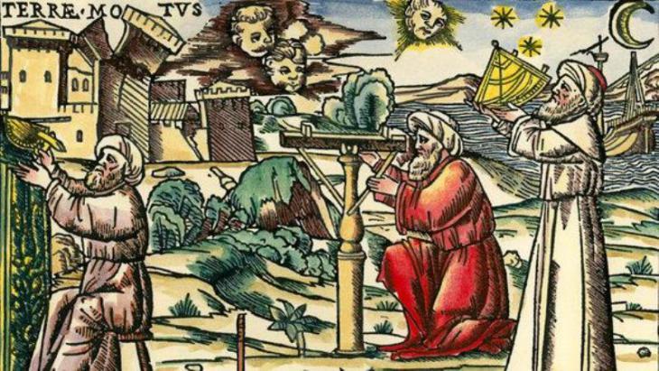 قطعة خشبية مرسوم عليها علماء فلك عرب ومعهم أجهزة قياس تقنية -  مدينة البندقية عام 1513. Foto: picture-alliance