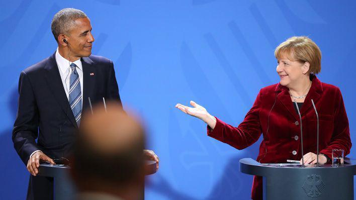 اوباما يودع ميركل ويسلمها شعلة القيم الديموقراطية الصورة د ب ا