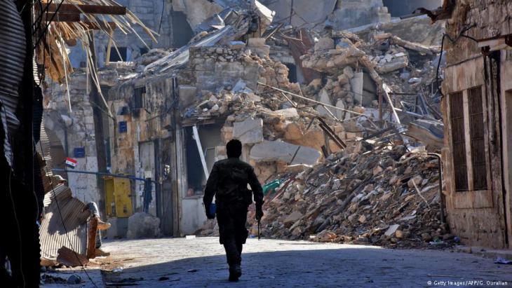 مشهد من الدمار في شرق حلب. Foto. AFP/Getty Images