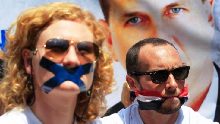 صورة رمزية حول قمع حرية الصحافة في مصر. dpa