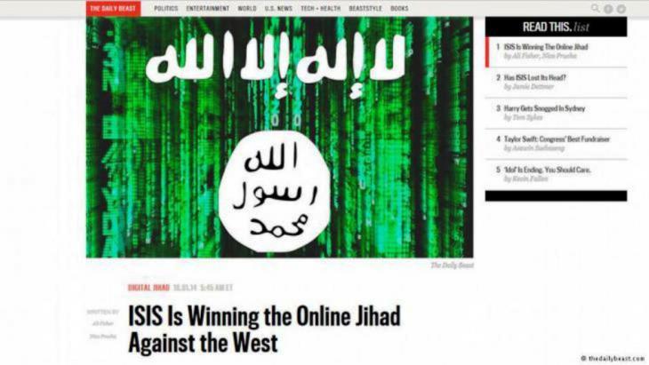 """صورة عن موقع ذي ديلي بوست لأحد مقالاته عن الجهاديين تحت عنوان: """"داعش ينتصر على الغرب في جهاد الإنترنت"""""""