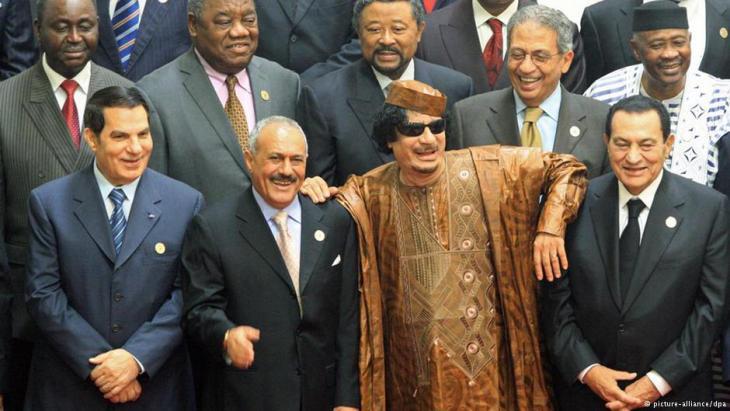 طغاة عرب: بن علي من تونس ومبارك من مصر وصالح من اليمن والقذافي من ليبيا. Foto: dpa/picture-alliance
