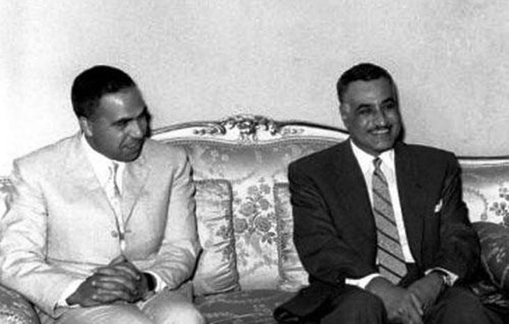 عبد الحميد السراج فى لقطة نادرة مع الرئيس عبد الناصر. الصورة فيكيميدا