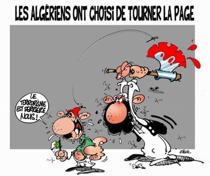 """""""الجزائريون اختاروا طي الصفحة تركنا الارهاب وراءنا""""، رسم """"ديليم"""" لصحيفة Liberté Quelle: Liberté"""