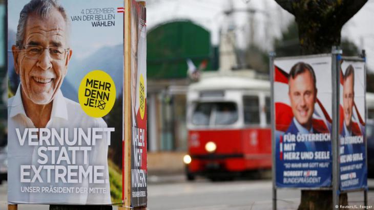 ملصقات انتخابية خلال الحملة الانتخابية الرئاسية في النمسا عام 2016. Foto: Reuters