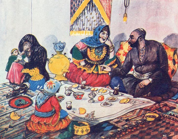 لوحة الزوجة القديمة والزوجة الجديدة للرسام عظيم أصلان أوغلو زادة (أذربيجان 1939)