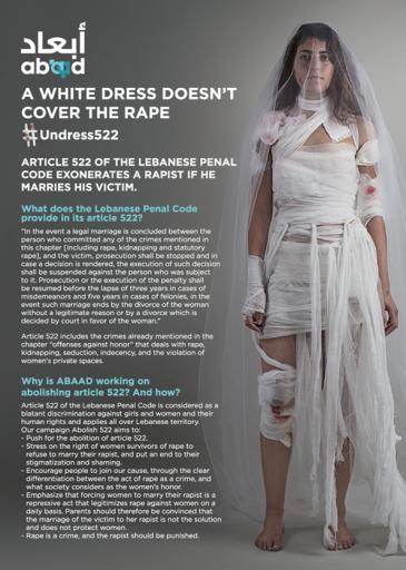 في منتصف شهر نيسان/أبريل 2017 عرضت ناشطات لبنانيات فساتين للزفاف على الشاطئ في بيروت. وكان هدفهن من هذه الحملة تشجيع نوَّاب البرلمان اللبناني على التصويت لصالح إلغاء المادة رقم 522 من قانون العقوبات اللبناني.