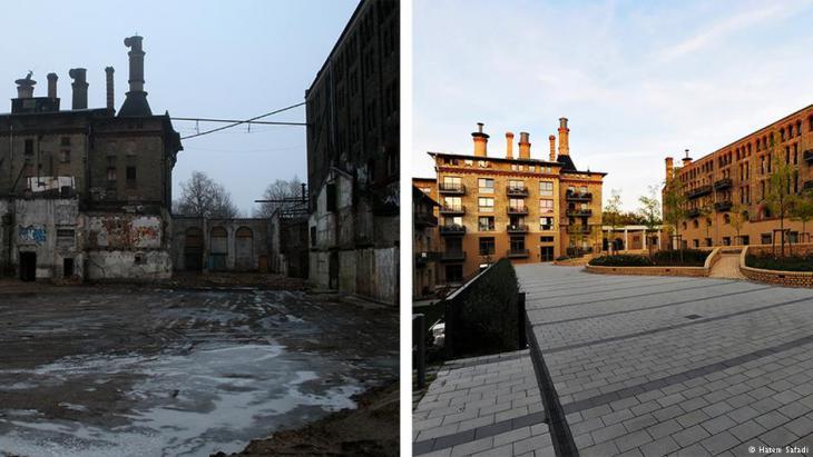معمل تخمير شعيرة الجعة في منطقة بانكو ببرلين قبل وبعد ترميمه وتحويله إلى مجمع شقق سكنية.