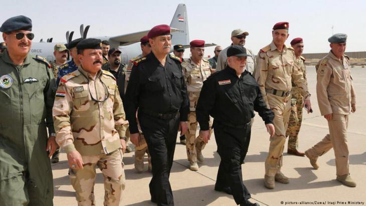 """رئيس الوزراء العراقي حيدر العبادي في الموصل بتاريخ 09 / 07 / 2017 بعد إخراج """"داعش"""" منها."""
