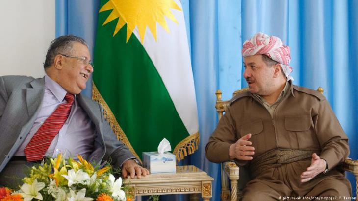 Iraqi President Jalal Talabani meeting with regional president Massoud Barzani in Dokan, August 2009 (photo: picture-alliance/dpa/mxppp/C. P. Tesson)
