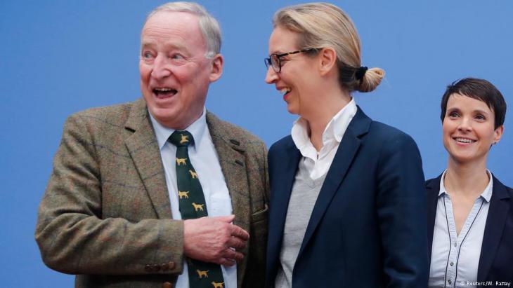 ألِكسندَر غاولاند وأليس فايدِل وفراوكِه بيتري من أبرز قادة اليمين الشعبوي في ألمانيا 24 / 09 / 2017. Foto: Reuters