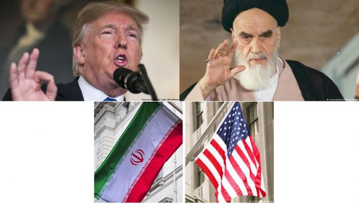 ثلاث صور يظهر فيها: ترامب والخميني والعلمين الأمريكي الإيراني.