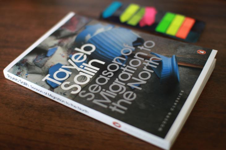 """الغلاف الإنكليزي لرواية الطيب صالح """"موسم الهجرة إلى الشمال published by Penguin source: bookscomefirst.com"""