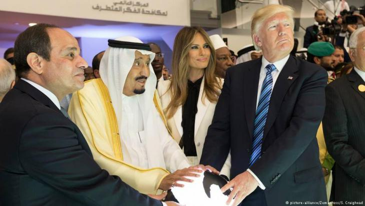 الرئيس الأمريكي ترامب  والملك السعودي سلمان والرئيس المصري السيسي