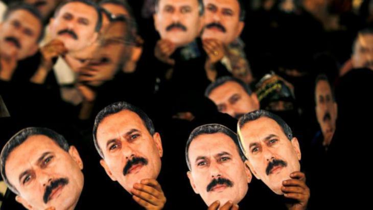 صور للرئيس اليمني السابق علي عبد الله صالح بأيدي أنصاره
